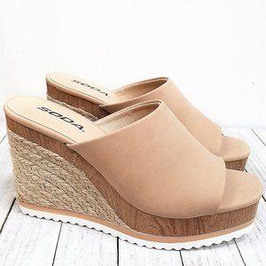 New Nude Espadrille Platform Wedge Slide Sandals